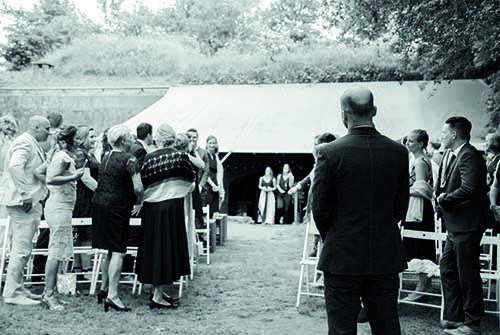 Ceremonie zwart wit Fort bij Vechten